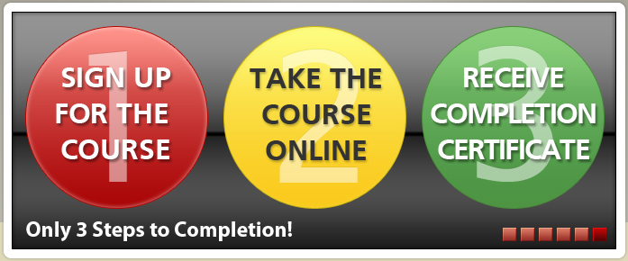 3 easy steps: 1) Sign up for the course; 2) Take the course online; 3) Receive completion certificate.